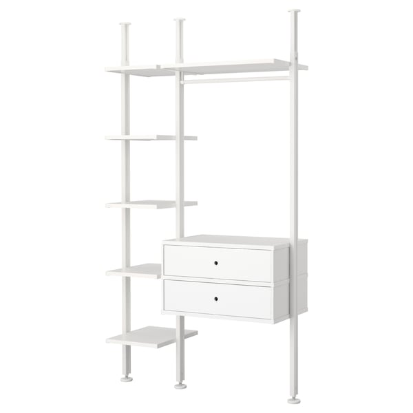 ELVARLI 2 sections, white, 135x51x222-350 cm