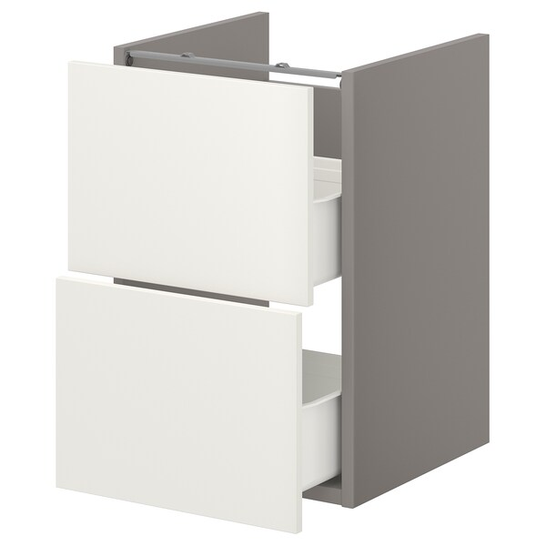 ENHET خزانة قاعدة لحوض مع درجين, رمادي/أبيض, 40x40x60 سم