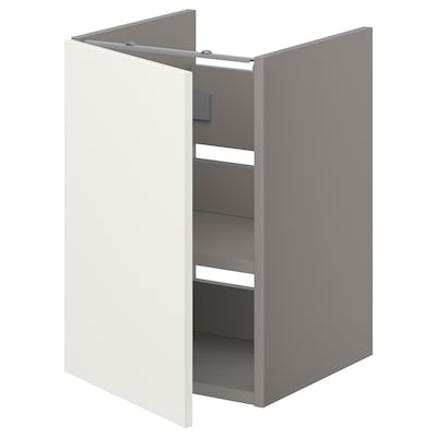 ENHET Bs cb f wb w shlf/door, grey/white, 40x40x60 cm