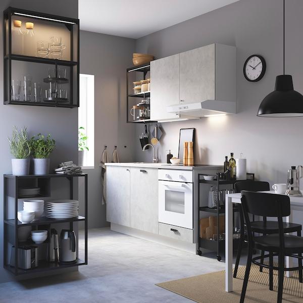 ENHET مطبخ, فحمي/تأثيرات ماديّة., 183x63.5x222 سم