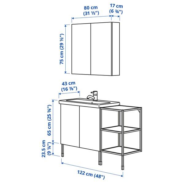 ENHET / TVÄLLEN أثاث حمام، طقم من 14, أبيض/فحمي حنفية Pilkån, 122x43x87 سم