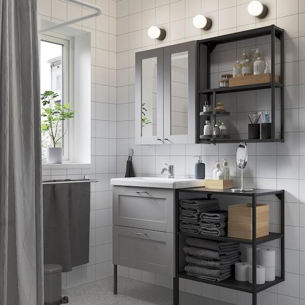 ENHET / TVÄLLEN Bathroom furniture, set of 15, grey frame/anthracite Lillsvan tap, 122x43x87 cm