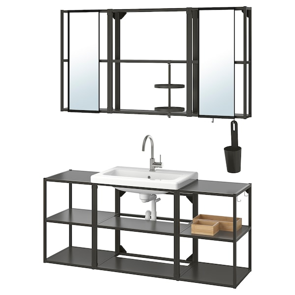 ENHET / TVÄLLEN Bathroom furniture, set of 17, anthracite/Glypen tap, 140x43x65 cm