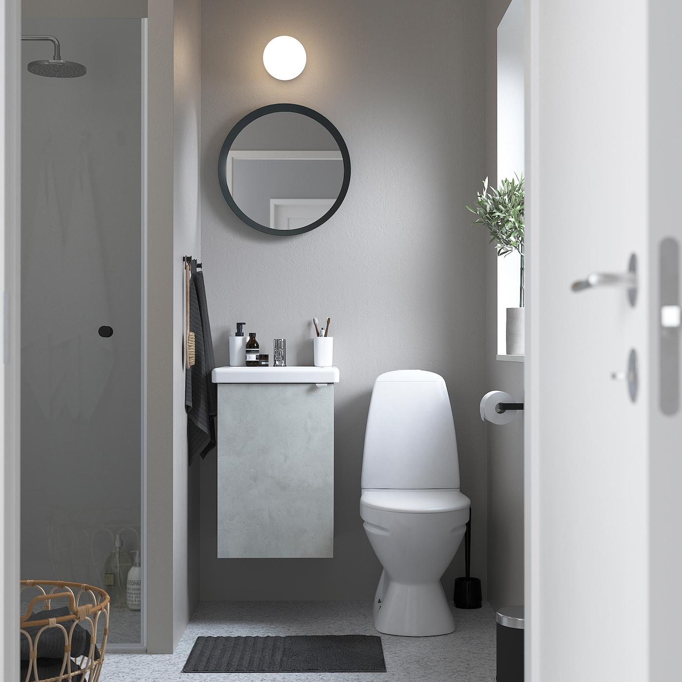 ENHET / TVÄLLEN خزانة الحوض مع 1 باب, تأثيرات ماديّة./رمادي حنفية Pilkån, 44x43x65 سم