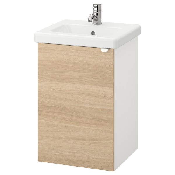 ENHET / TVÄLLEN خزانة الحوض مع 1 باب, شكل السنديان/أبيض حنفية Pilkån, 44x43x65 سم