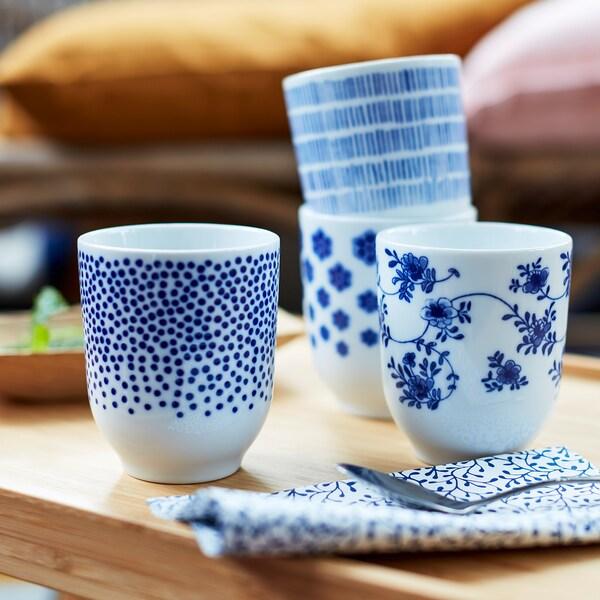 ENTUSIASM Mug, patterned/blue, 22 cl