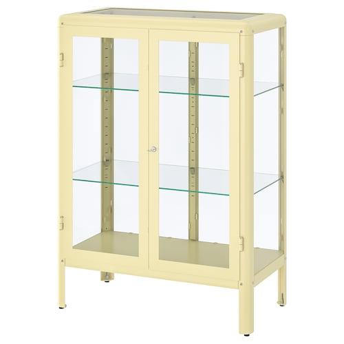 FABRIKÖR glass-door cabinet light yellow 81 cm 42 cm 113 cm 10 kg