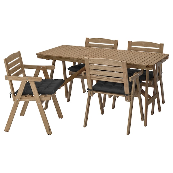 FALHOLMEN Table+4 chairs w armrests, outdoor, light brown stained/Hållö black