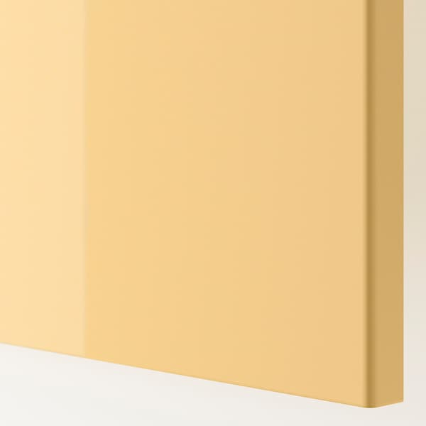 FARDAL Door with hinges, high-gloss yellow, 50x229 cm