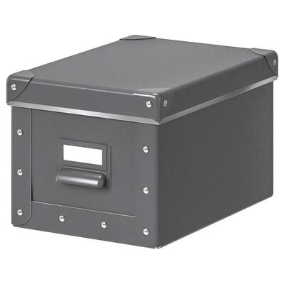FJÄLLA Storage box with lid, dark grey, 18x26x15 cm