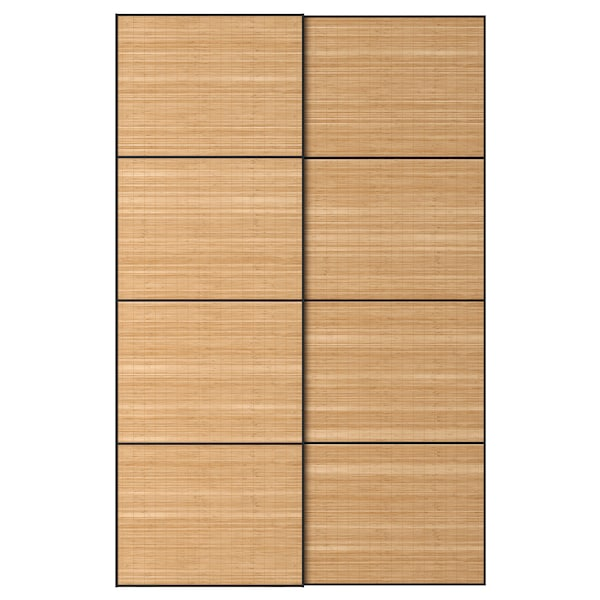 FJELLHAMAR pair of sliding doors dark bamboo 150 cm 236 cm 8.0 cm 2.3 cm