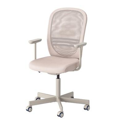 FLINTAN كرسي مكتب بمساند ذراعين, بيج