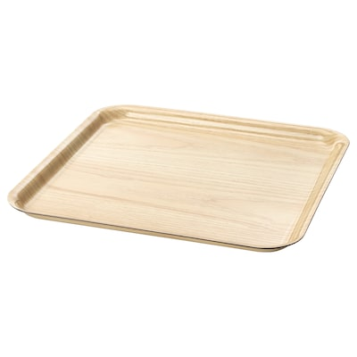 FÖRMEDLA Tray with anti-slip, wood effect, 33x33 cm