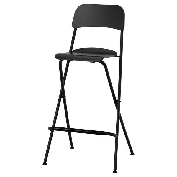 FRANKLIN Bar stool with backrest, foldable, black/black, 74 cm