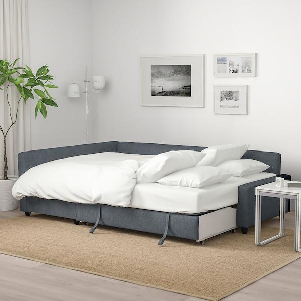 FRIHETEN أريكة-سرير زاوية مع تخزين, Hyllie رمادي غامق