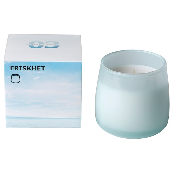 FRISKHET Scented candle in glass, Pure sky/blue, 7.5 cm