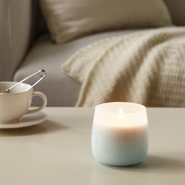 FRISKHET Scented candle in glass, Pure sky/blue, 9 cm
