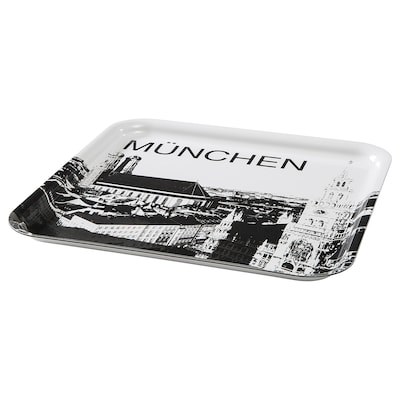 FRUKTKULTUR Tray, white/black/Munich, Germany, 33x33 cm