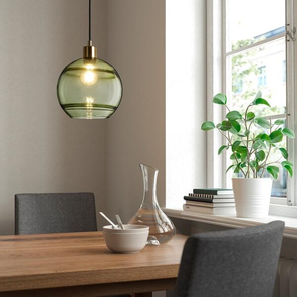 FUNDSHULT pendant lamp shade green glass/lined 21 cm 23 cm