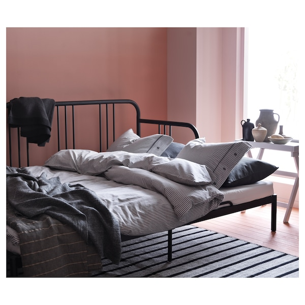 FYRESDAL Day-bed with 2 mattresses, black/Husvika firm, 80x200 cm