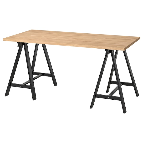 GERTON / ODDVALD Table, beech/black, 155x75 cm
