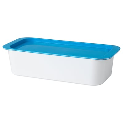 GESSAN Box with lid, white/blue, 30x13x8 cm