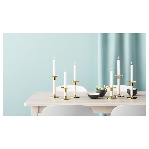 GLITTRIG Candlestick, set of 3, ivory/gold-colour
