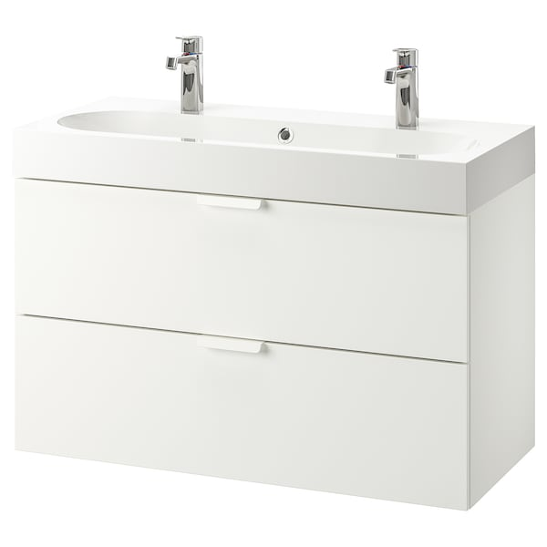 GODMORGON / BRÅVIKEN Wash-stand with 2 drawers, white/Brogrund tap, 100x48x68 cm