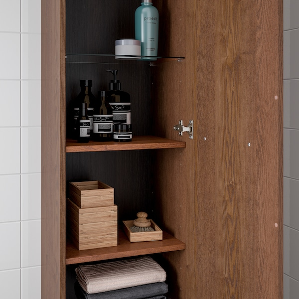 GODMORGON High cabinet, brown stained ash effect, 40x32x192 cm
