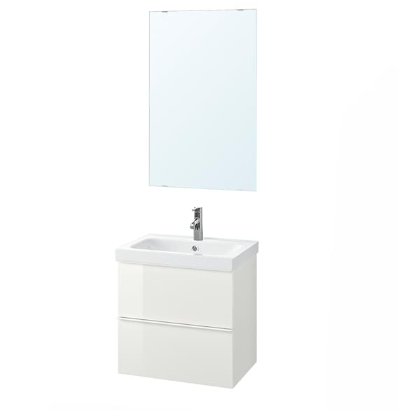GODMORGON / ODENSVIK Bathroom furniture, set of 4, high-gloss white/Dalskär tap, 63 cm