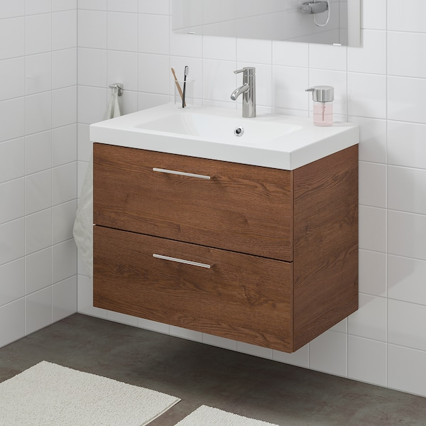 GODMORGON / ODENSVIK Wash-stand with 2 drawers, brown stained ash effect/Dalskär tap, 83x49x64 cm