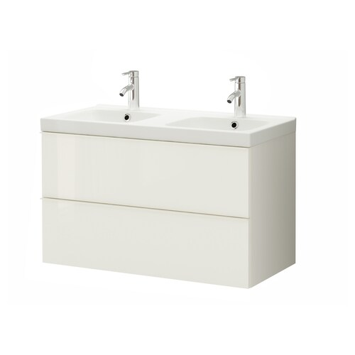 GODMORGON / ODENSVIK wash-stand with 2 drawers high-gloss white/Dalskär tap 103 cm 100 cm 49 cm 64 cm