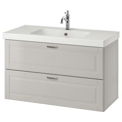 GODMORGON / ODENSVIK Wash-stand with 2 drawers, Kasjön light grey/Hamnskär tap, 103x49x64 cm