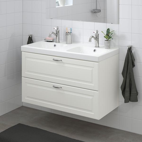 GODMORGON / ODENSVIK Wash-stand with 2 drawers, Kasjön white/Hamnskär tap, 103x49x64 cm