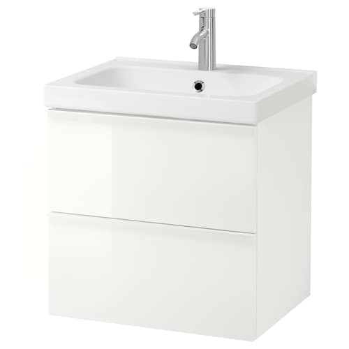 GODMORGON / ODENSVIK wash-stand with 2 drawers high-gloss white/Dalskär tap 63 cm 60 cm 49 cm 64 cm