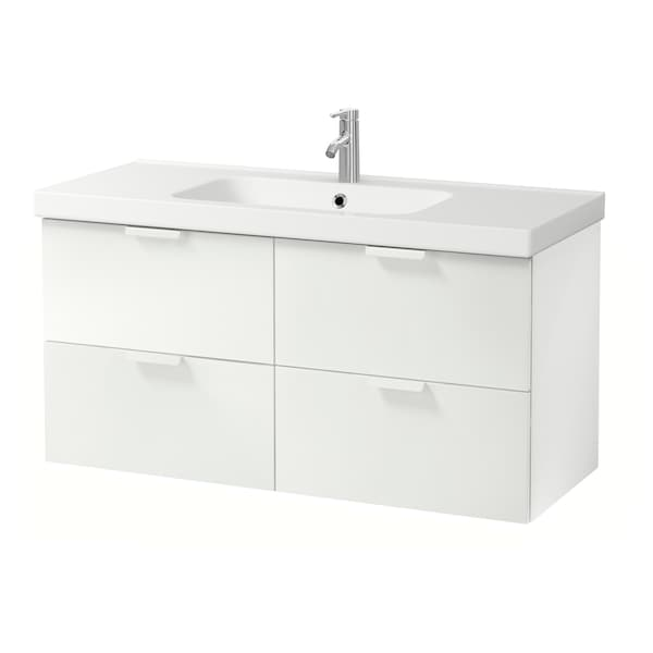 GODMORGON / ODENSVIK Wash-stand with 4 drawers, white/Dalskär tap, 123x49x64 cm