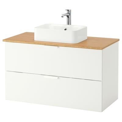 GODMORGON/TOLKEN / HÖRVIK Wsh-stnd w countrtop 45x32 wsh-bsn, white/bamboo Brogrund tap, 102x49x72 cm