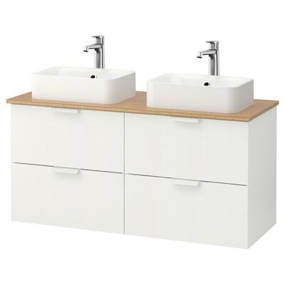 GODMORGON/TOLKEN / HÖRVIK Wsh-stnd w countrtop 45x32 wsh-bsn, white/bamboo Brogrund tap, 122x49x72 cm