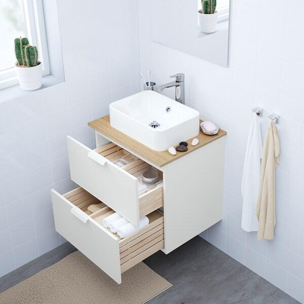 GODMORGON/TOLKEN / HÖRVIK Wsh-stnd w countrtop 45x32 wsh-bsn, white/bamboo Brogrund tap, 62x49x72 cm