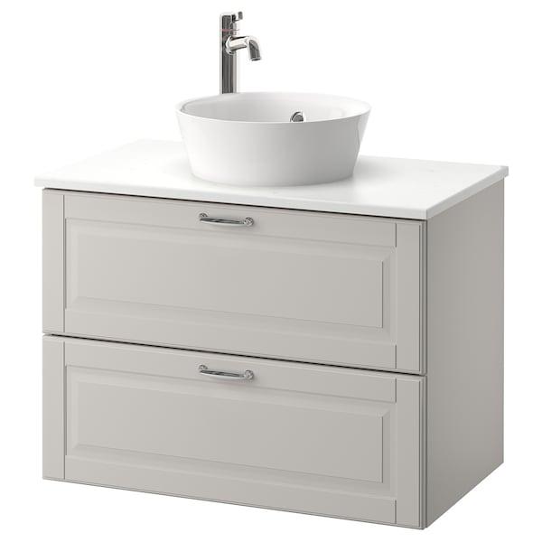 GODMORGON/TOLKEN / KATTEVIK Wsh-stnd w countertop 40 wash-basin, Kasjön light grey/marble effect Voxnan tap, 82x49x75 cm