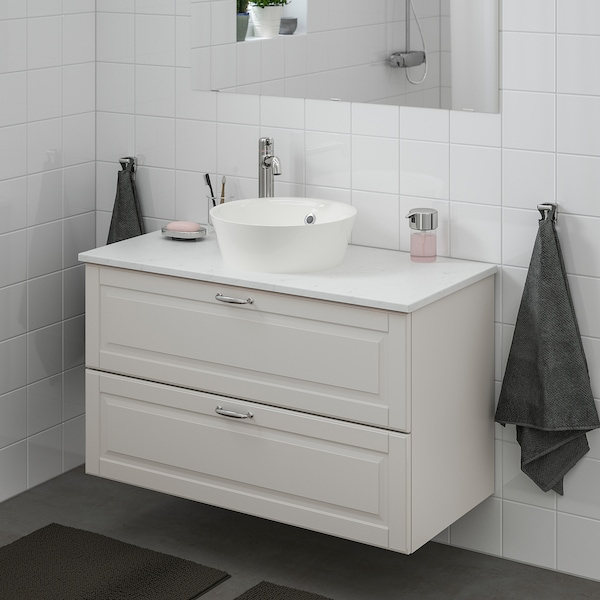 GODMORGON/TOLKEN / KATTEVIK Wsh-stnd w countertop 40 wash-basin, Kasjön light grey/marble effect Voxnan tap, 102x49x75 cm