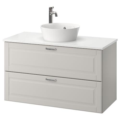 GODMORGON/TOLKEN / KATTEVIK wsh-stnd w countertop 40 wash-basin Kasjön light grey/marble effect Voxnan tap 102 cm 49 cm 75 cm