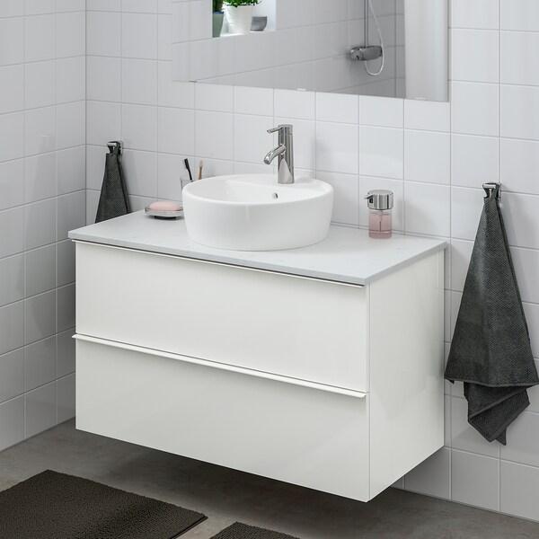 GODMORGON/TOLKEN / TÖRNVIKEN خزانة مع حوض غسيل سطحي 45, لامع أبيض/شكل المرمر حنفية Dalskär, 102x49x74 سم