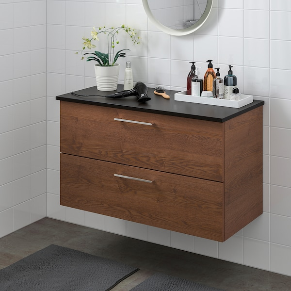 GODMORGON / TOLKEN Wash-stand with 2 drawers, brown stained ash effect/anthracite, 82x49x60 cm