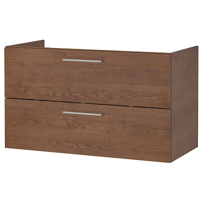 GODMORGON Wash-stand with 2 drawers, brown stained ash effect, 100x47x58 cm
