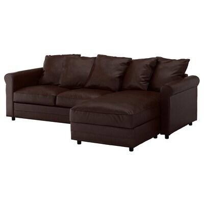 GRÖNLID أريكة 3 مقاعد, مع أريكة طويلة/Kimstad بني غامق