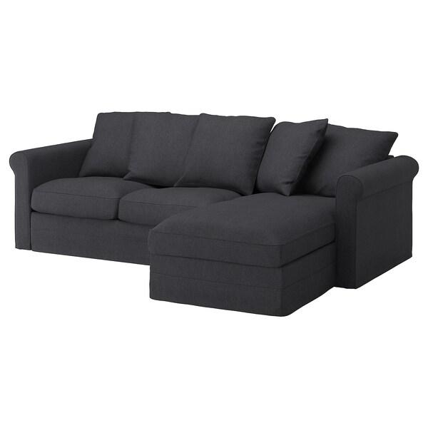 GRÖNLID أريكة 3 مقاعد, مع أريكة طويلة/Sporda رمادي غامق