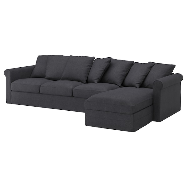 GRÖNLID 4-seat sofa, with chaise longue/Sporda dark grey