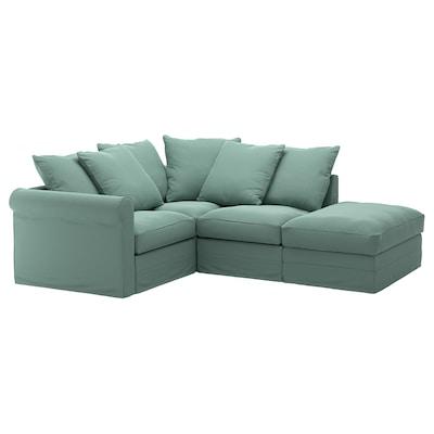 GRÖNLID أريكة زاوية، 3 مقاعد, مع طرف مفتوح/Ljungen أخضر فاتح