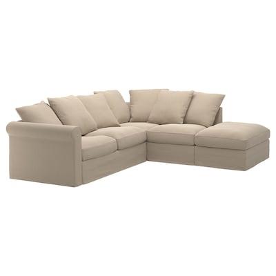 GRÖNLID أريكة زاوية، 4 مقاعد, مع طرف مفتوح/Sporda لون طبيعي